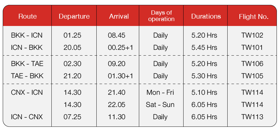 t'way air flight schedule